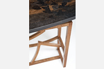 """Gingko"" Custom Wood Inlaid Parquetry Hall Sofa Table"