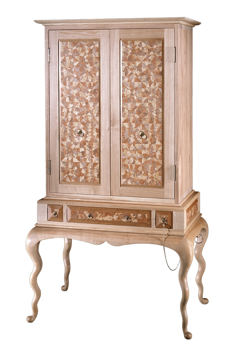 """Prince Albert"" Custom Inlaid Parquetry Highboy Cabinet"
