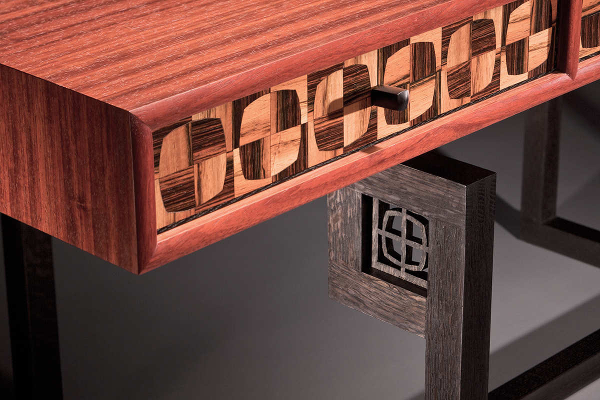 """Tartan"" Modern, Custom Inlaid Parquetry Desk Table (detail)"