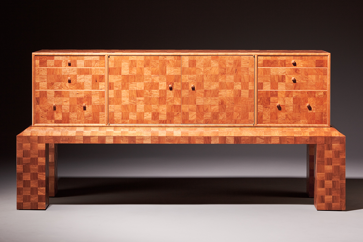 """""""2700 Squares"""" Custom Inlaid Parquetry Sideboard Cabinet inspired by pre-WWII modernist aesthetics features a tiled pattern of alternating squares. Wood: Cherry, Sugar Maple, Alaskan Yellow Cedar, English Yew. Finish: Hand-rubbed varnish. Size: 66"""" x 21"""" x 31""""."""
