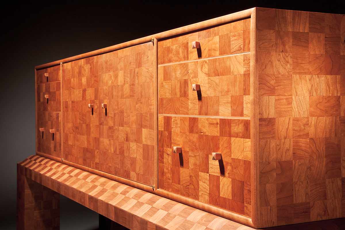 """""""2700 Squares"""" Custom Inlaid Parquetry Sideboard Cabinet (3/4 corner view)"""