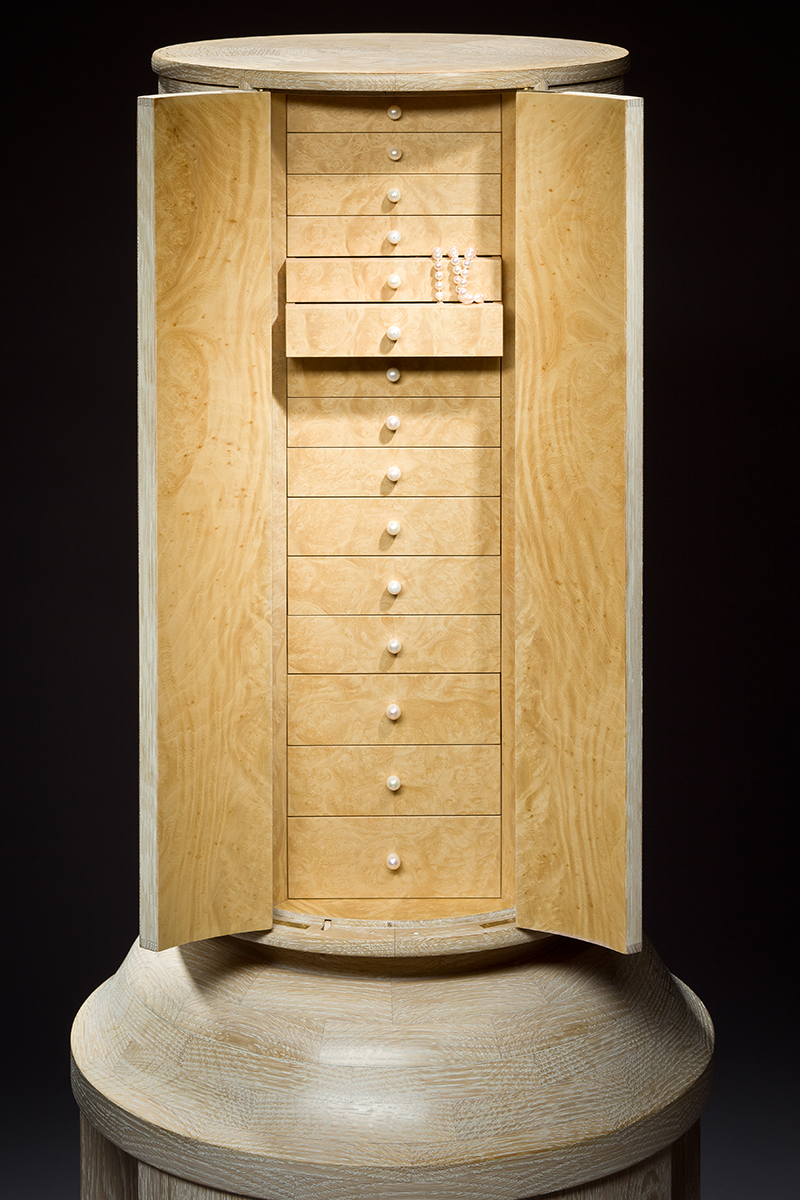 """Bleached Ice"" Pattern, Inlaid Parquetry Jewelry Cabinet"