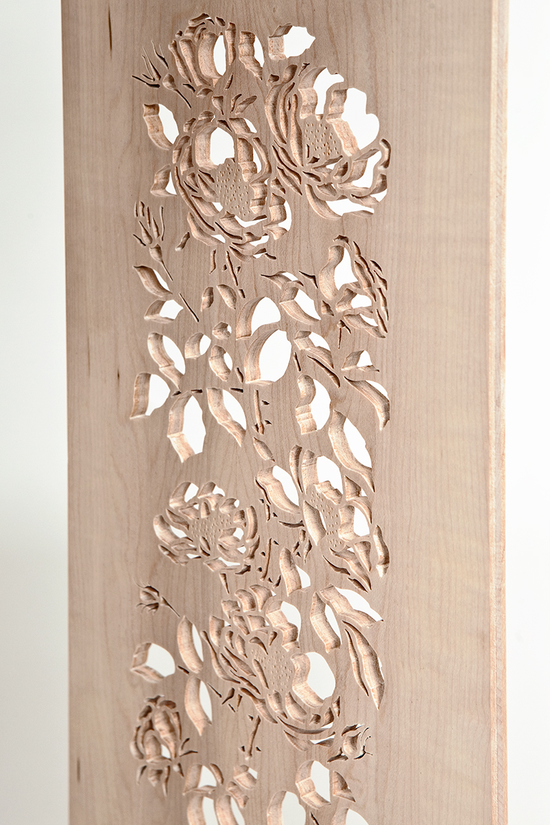 """""""Coming Up Roses"""" Custom Wood Inlaid Parquetry Hall Table with Piercing Detail"""
