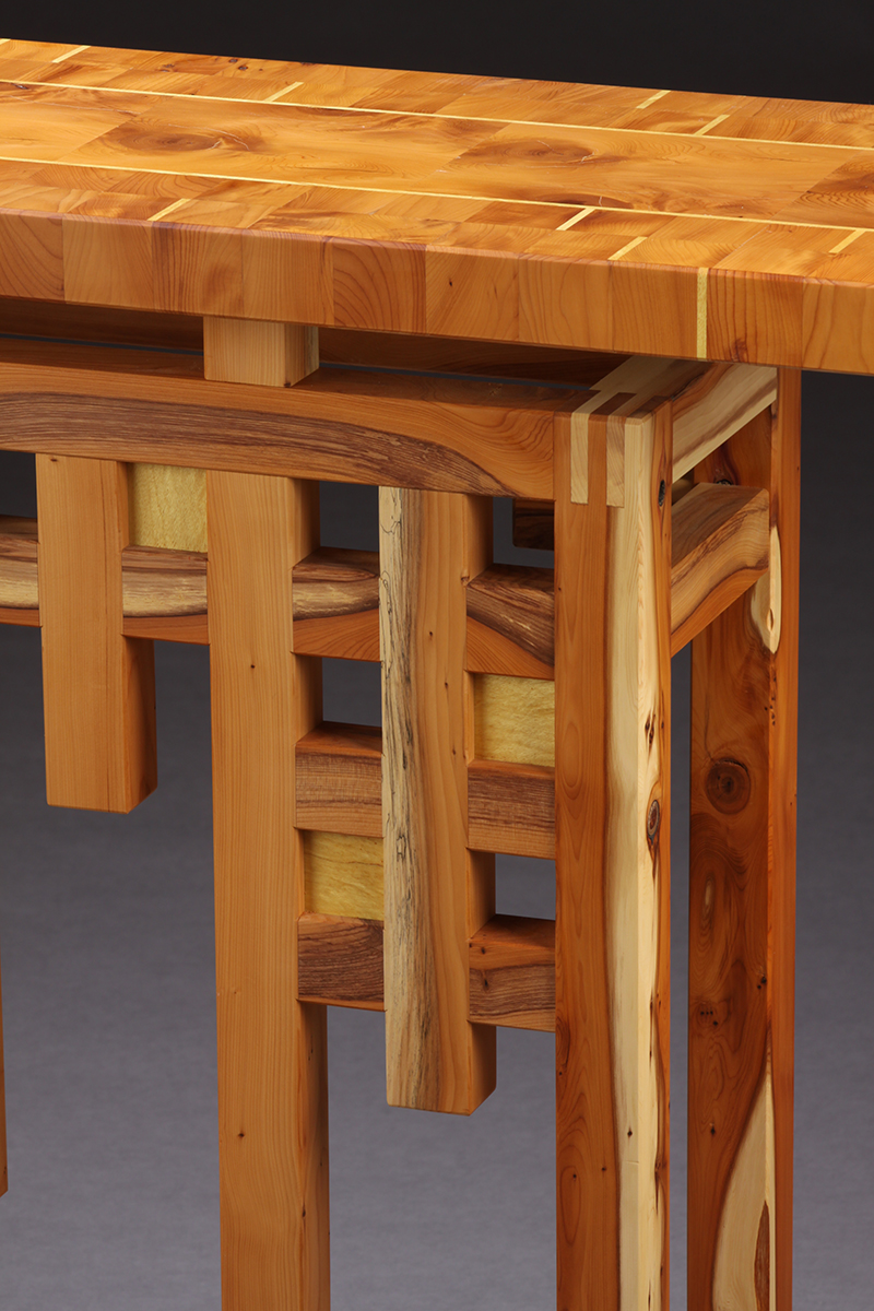 """Loving Yew"" Custom Wood Inlaid Parquetry Hall Table (detail of upper right corner)"