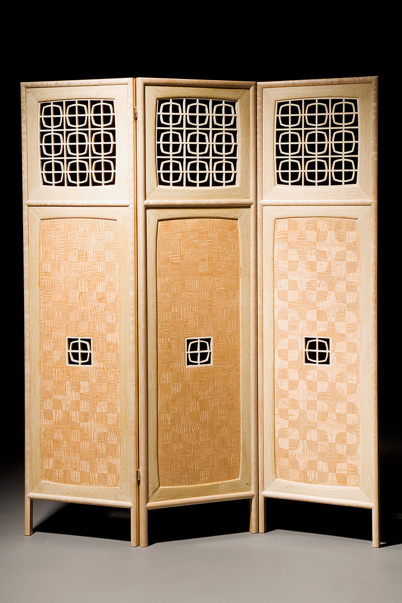 """""""Screen With a View"""" Custom Inlaid Parquetry Divider Folding Screen. Freestanding Mid-century modern style screen features a sandblasted, pierced panel in Maple. Wood: Curly Sugar maple, Quilted Big Leaf Maple, Bleached White Oak. Finish: Hand-rubbed varnish. Size: 60"""" x 1"""" x 60""""."""