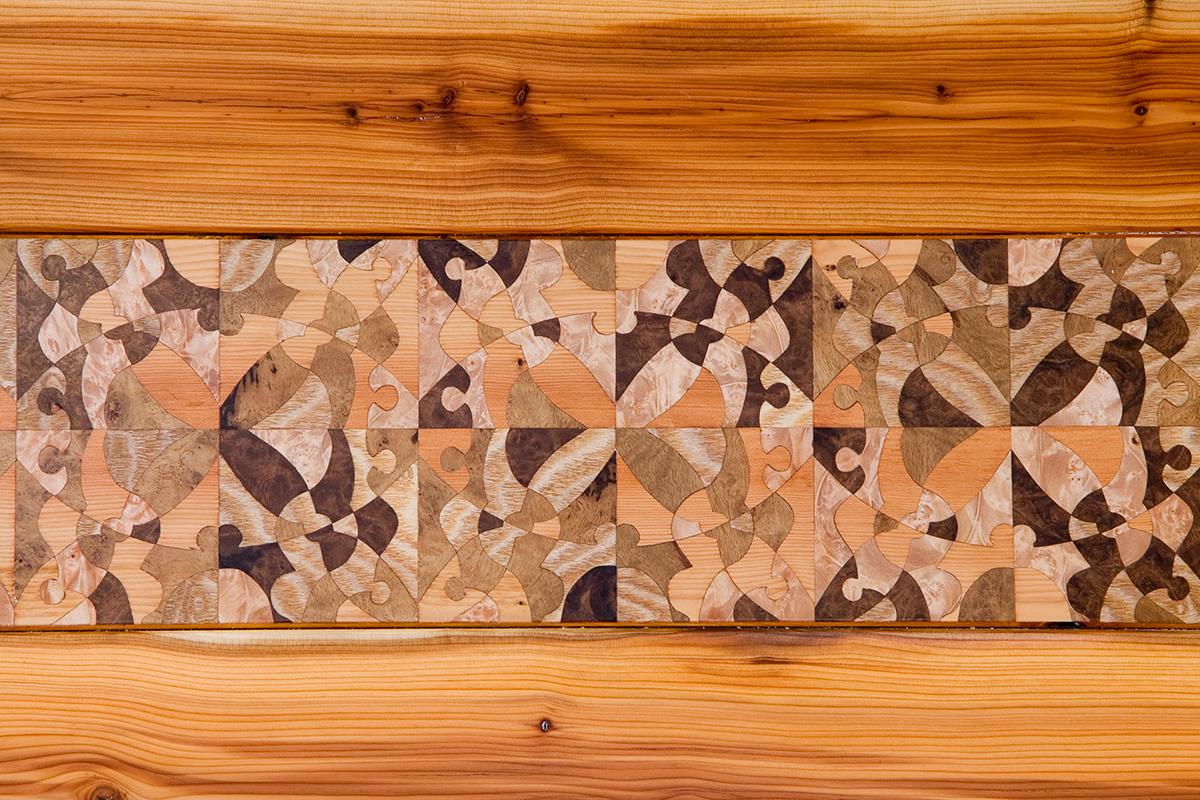 Custom Inlaid Parquetry Sleigh Bed (headboard detail)