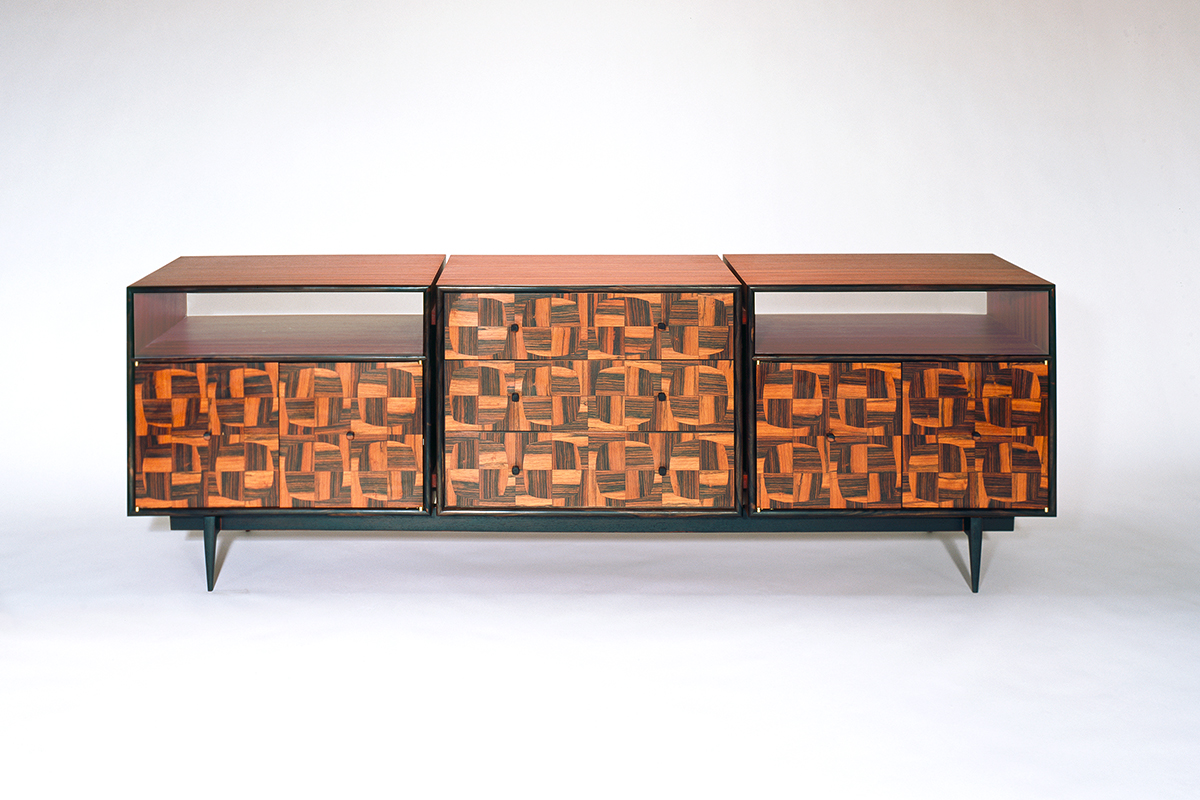 """Tartan"" Modern, Custom Inlaid Parquetry Console Cabinet (front view). Mid-century modernist-inspired desk features a soft square marquetry pattern design. Wood: Padouk, Brazilian Rosewood, Macassar Ebony, Maple, Ebonized Oak. Finish: Hand-rubbed varnish. Size"": 60"" x 32"" x 30""."