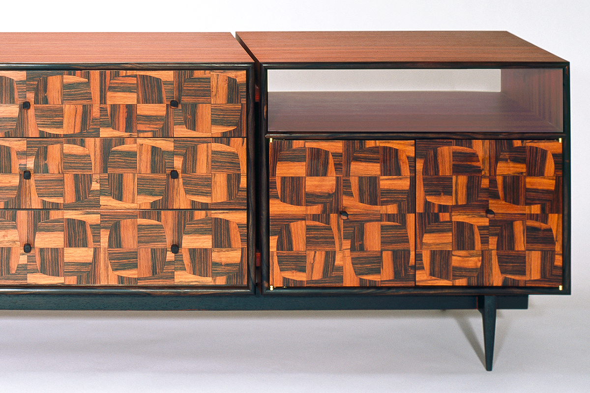 """Tartan"" Modern, Custom Inlaid Parquetry Console Cabinet (front view detail)"