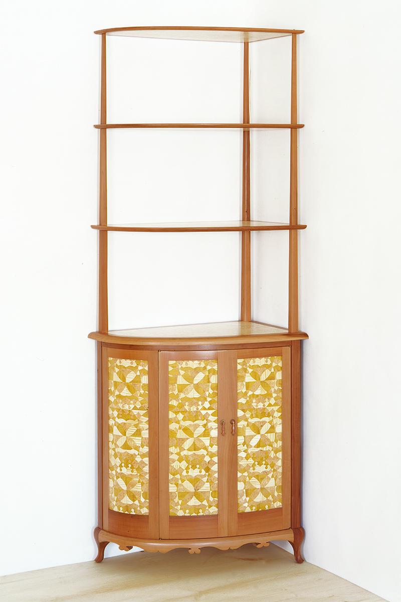 """""""Hummingbird"""" Custom Inlaid Parquetry Corner Cabinet"""